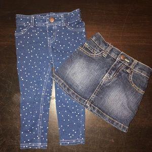 Other - Denim Skirt and Leggings Set